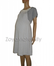 N3225 abu putih samping2 dress menyusui  large