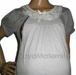 large N3225 abu putih open dress menyusui